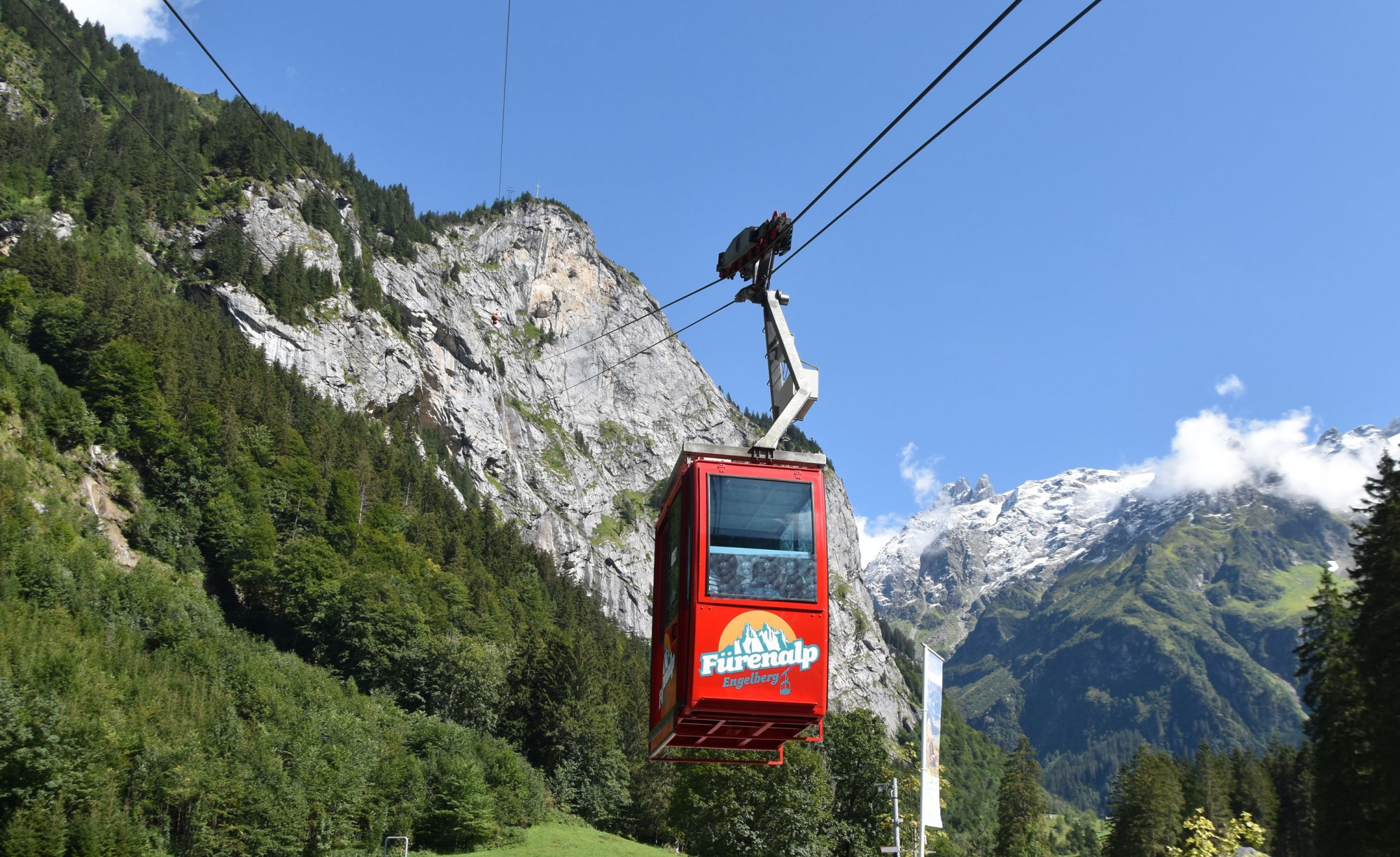 All passengers must wear a hygienic mask when travelling in the cable car Fürenalp.